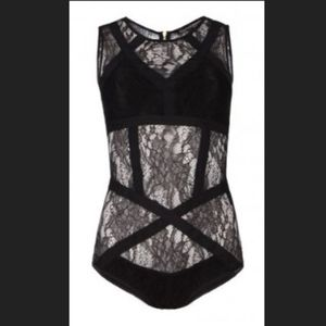 "All Saints ""Neely"" Black Lace Bodysuit"